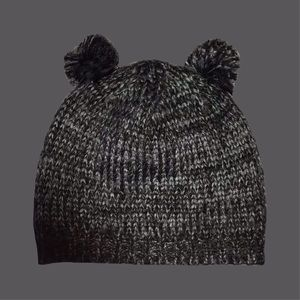 Gray Double Pom Pom Winter Hat